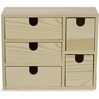 Amazon Com Small Multi Purpose Desktop Organizer Caddy With 5 Drawers Storage Cabinet Sewing Box And Diy Craft Project Solution To Your Everyday Needs Unfinished Wood Home Improvement
