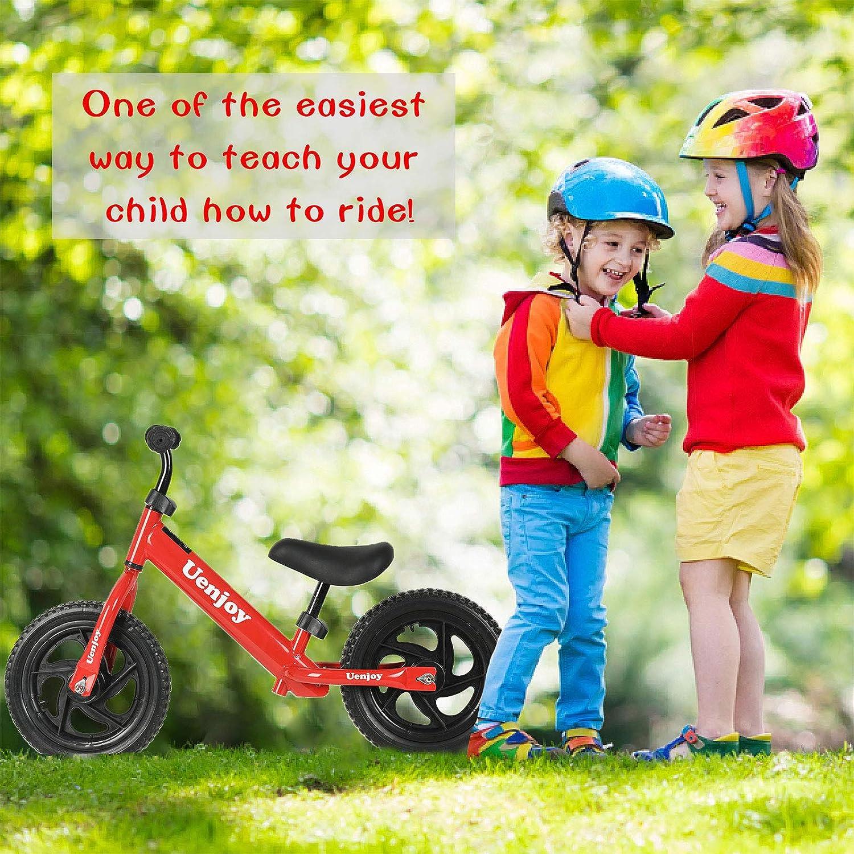 Lightweight Frame, Pink//Black//red Toddler Balance Push Bike with 12 EVA Polymer Foam Tire Height Adjustable Uenjoy Kids Balance Bike No Pedal Bicycle for 2-4 Years Old