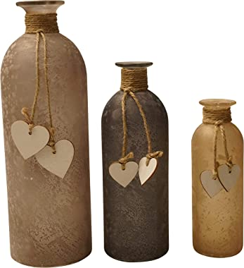 khevga - Set di 3 vasi decorativi in vetro con cuore - vetro satinato
