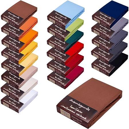 Avantgarde Sábana bajera ajustable para cama con somier, 140 x 200-160 x 220-100% algodón Mako Jersey, sábana bajera 165 g/m² (11 - marrón chocolate)