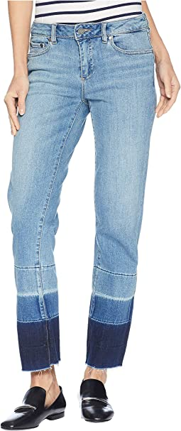 Light Indigo Color Block Release Hem Crop Jeans in Spectrum Blue
