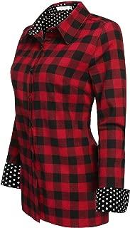 Jingjing1 Women Plaid Shirt, Ladies Casual Roll Up Sleeve Button Down Boyfriend Shirt,Western Shirts for Women