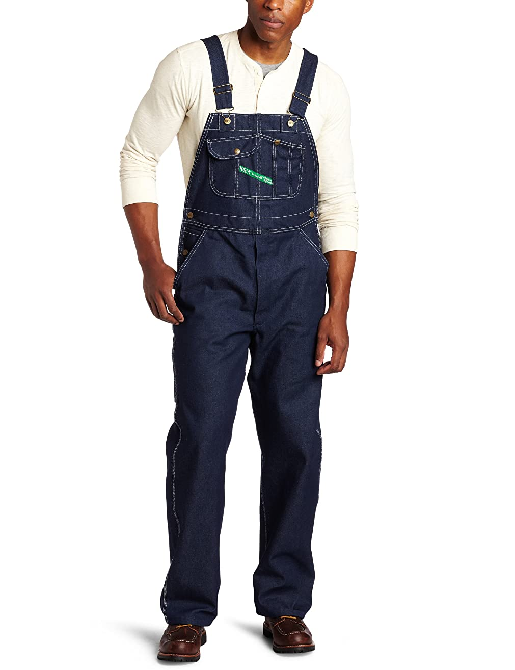 Key Apparel Men's Big and Tall Big & Tall Garment Washed Zip Fly High Back Bib Overall