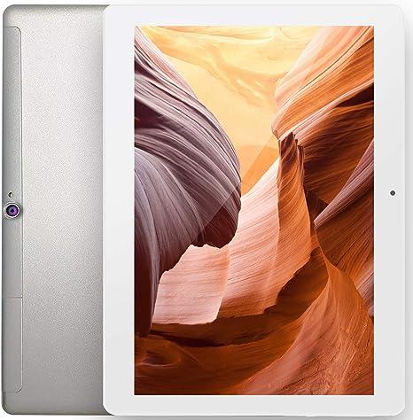 Tablet 10 Pulgadas Android 10.0 Tableta Ultra-Rápido 4GB RAM 64GB ROM (Ampliable hasta 128GB) Octa-Core Procesador 4G LTE Dual SIM FGZ Tablet X10 Pro Bluetooth WIFI GPS 1280*800 IPS HD Pantalla, Plata