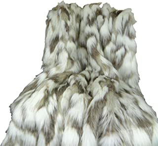 Thomas Collection Ivory Faux Fur Throw Blanket & Bedspread - Tibet Fox Fur - Ivory Beige Luxury Faux Fur - Throw Blanket - Luxury Soft Faux Fur, Made in USA, 16445