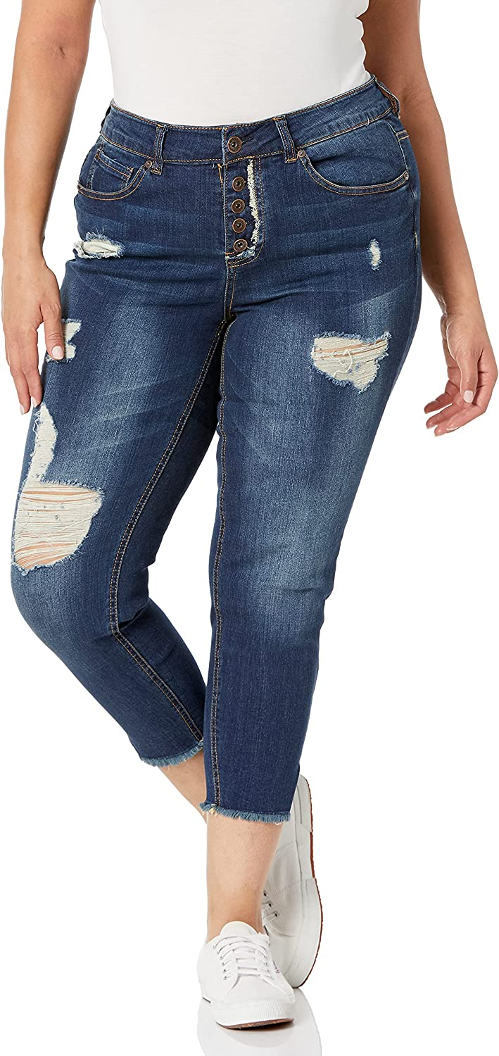 dollhouse Women's Size Plus Denim Skinny Jeans with Exposed Button