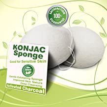 Gaia Konjac Bath Sponge 2 Pack - Healthy Alternative to Baby Washcloths - Completely Free of Harmful Chemicals Found in Other Bath Loofahs, Sponges or Poufs - White