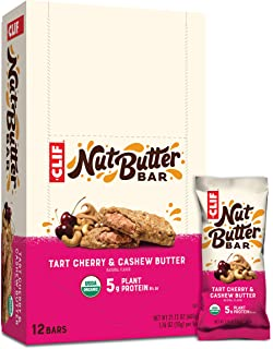 CLIF Nut Butter Bar - Organic Snack Bars - Tart Cherry Berry Flavor - Organic - Plant Protein - Non-GMO (1.76 Ounce Prote...