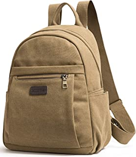 Unisex Canvas Backpack College School Backpack Casual Travel Backpack Laptop Backpack (Khaki)