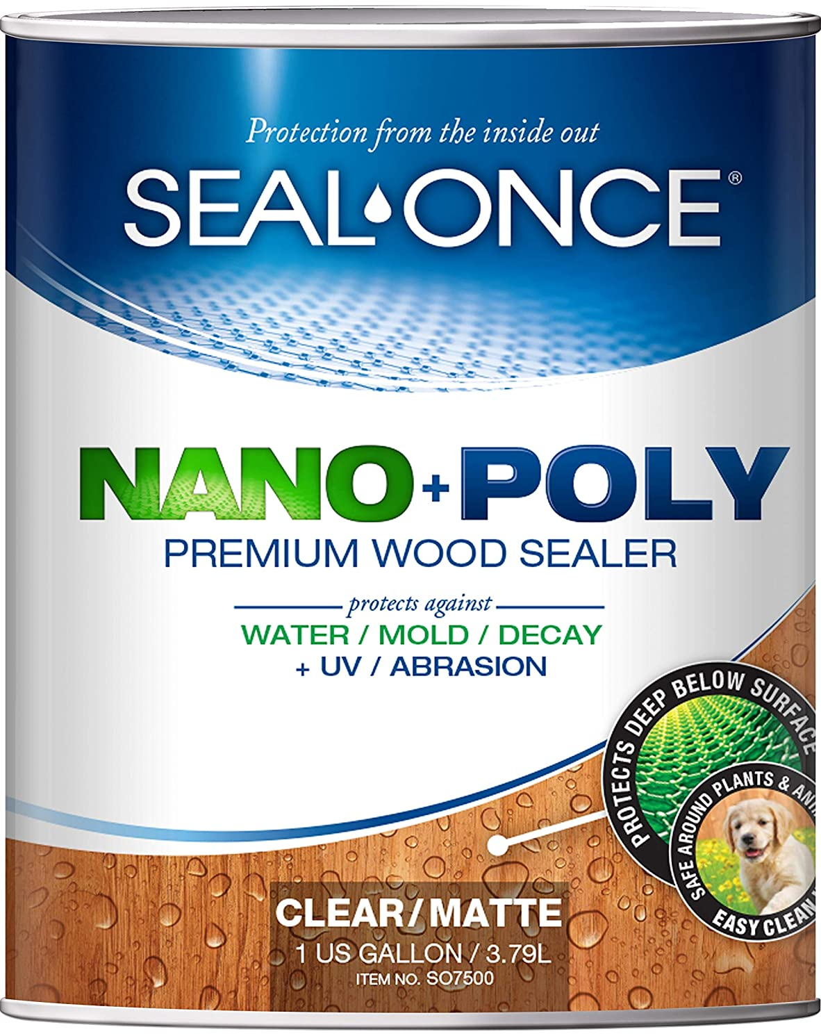 SEAL-ONCE Nano+Poly Penetrating Wood Sealer with Polyurethane - 1 Quart. Water-Based, Low-VOC, waterproofer & Stain for Decks, Fences & Log Homes.