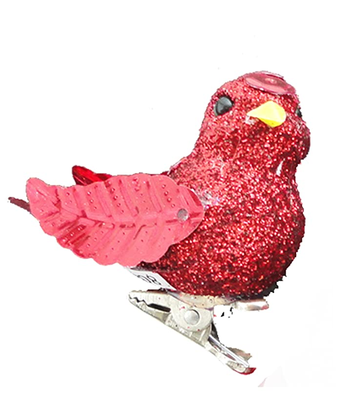 Touch of Nature 20957 Small Glitter Bird, 1-1/2-Inch, Red