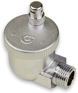 Caleffi 504401 Aercal - Válvula de ventilación automática (rosca externa de 1/2 pulgada, esquina, válvula para radiador de latón cromado, con tapa de seguridad higroscópica)