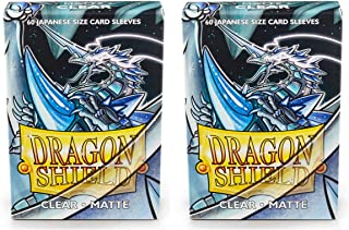 Dragon Shield Bundle: 2 Packs of 60 Count Japanese Size Mini Matte Card Sleeves - Matte Clear