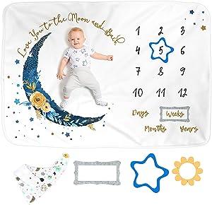 LUKA&LILY Baby Monthly Milestone Blanket Boy or Girl | Unisex Baby Nursery Decor | Baby Boy Gifts Baby Shower | Milestone Blanket for Baby Girl | Baby Month Blanket | Baby Blankets for Boys, 60x40