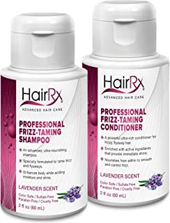 HairRx Professional Frizz-Taming Shampoo & Conditioner Travel Set, Luxurious Lather, Lavender Scent, 2 Ounce Bottles