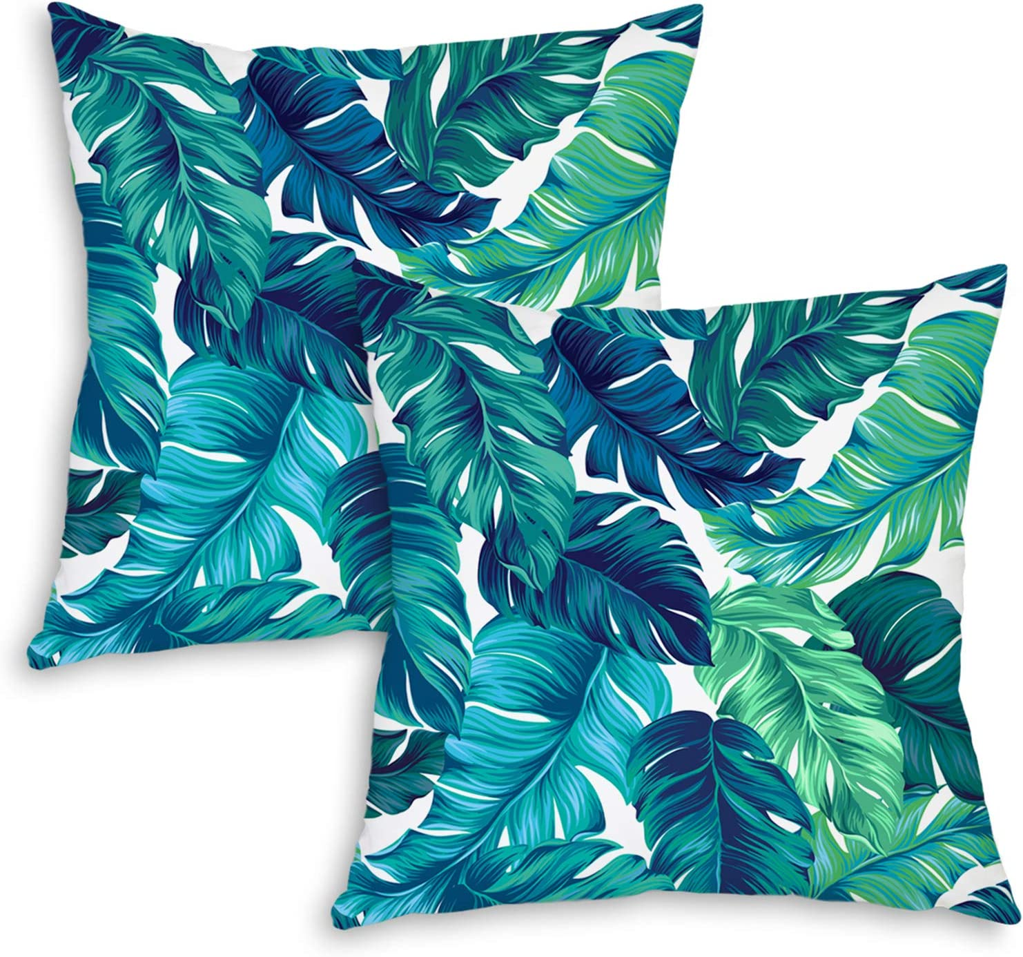 QoGoer Tropical Palm Ranking TOP10 Leaves Throw Pillow - Set of Covers Summe Translated 2