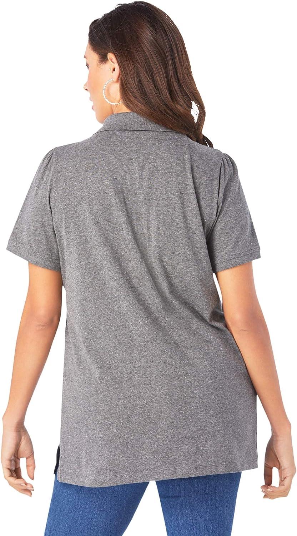 Roamans Womens Plus Size Polo Ultimate Tee 100/% Cotton Shirt