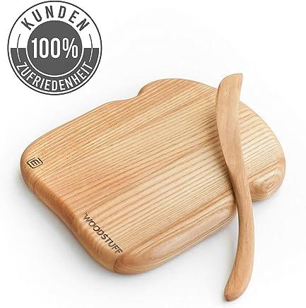 Preisvergleich für Massivholz Set Brotschmierbrett mit Holzmesser aus hochwertiger Eiche | Gross 19 х 16 cm | Holzbrettchen mit Garantie | Brotzeitbrett aus Europa | Servierbrett, Frühstücksbretter aus Echt-Holz