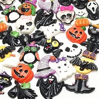 LibiIine 20pcs Mix Lots Halloween Pumpkin Skeleton Owl Bat Cat Resin Flatback Button Art Album Flatback Scrapbooking Embellishments Diy Decoration Scrapbooking Craft Accessory