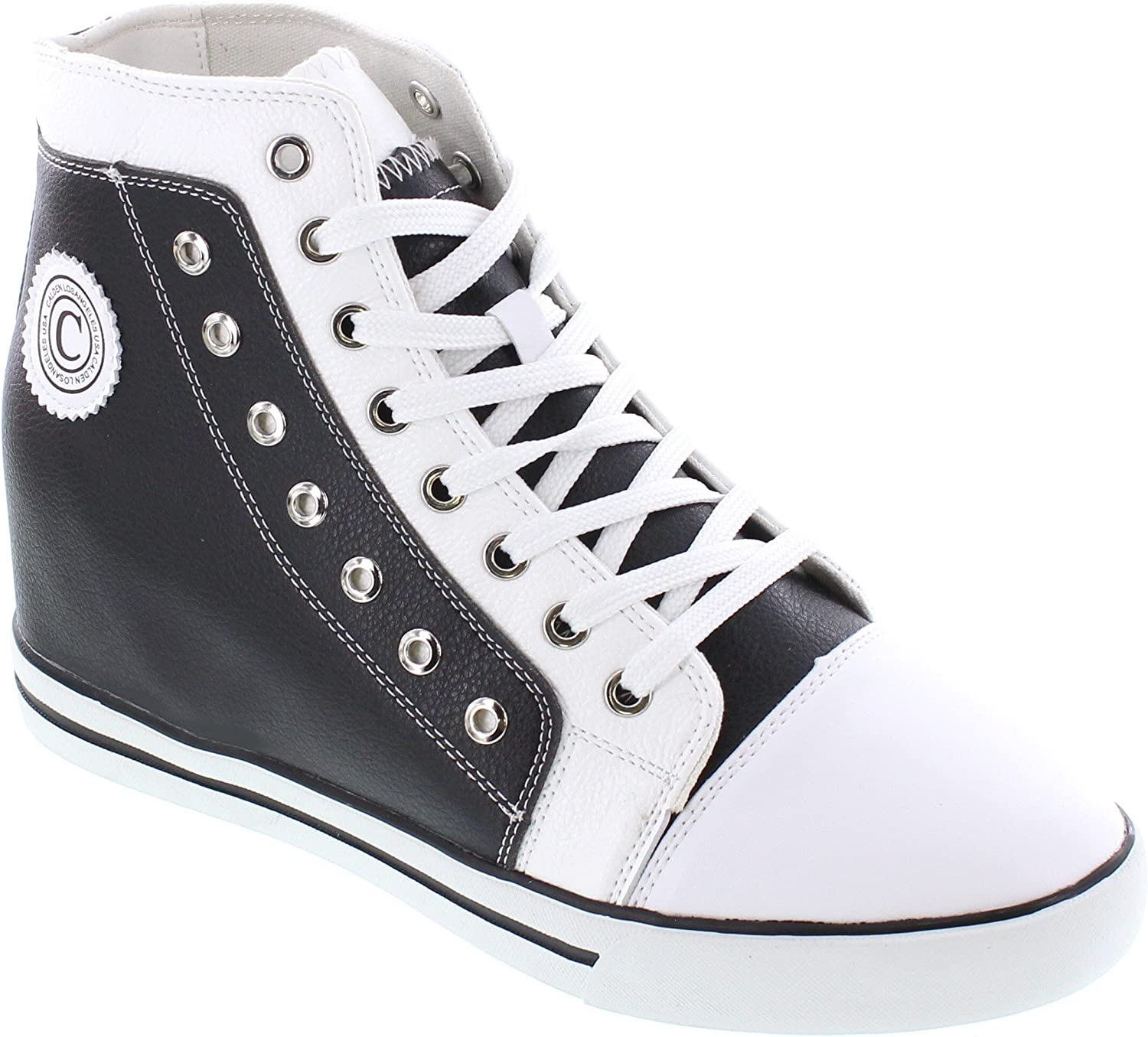 Calden Men's Invisible Height Increasing Elevator shoes - Black White Leather Cap-Toe Lace-up High-top Sneakers - 3.8 Inches Taller - K882895