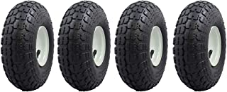 "Ranch Tough 4 Pack RT310 10"" Pneumatic Replacement Tires for Garden Including Gorilla Cart, Black"