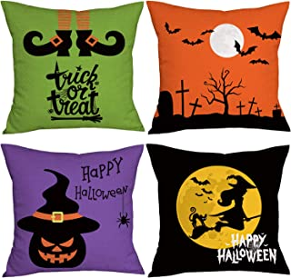 Set of 4 Halloween Pillow Cases Pumpkin Witch Throw Pillow Covers Autumn Spider Web Tombstone Black Cat Decorative Trick or Treat Cushion Case Cotton Linen Cushion Cover (18
