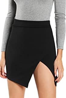 WDIRARA Women's Asymmetrical Solid Overlap Bodycon Workwear Skirt