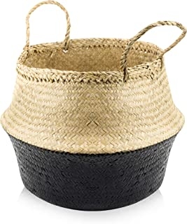 ACELEY Woven Seagrass Belly Basket for Storage – Modern Home Decor Plant Pot Cover, Toy Storage, Wicker Baskets, Plant Basket, Collapsible Laundry Basket, Foldable, Hand Made Seagrass Basket