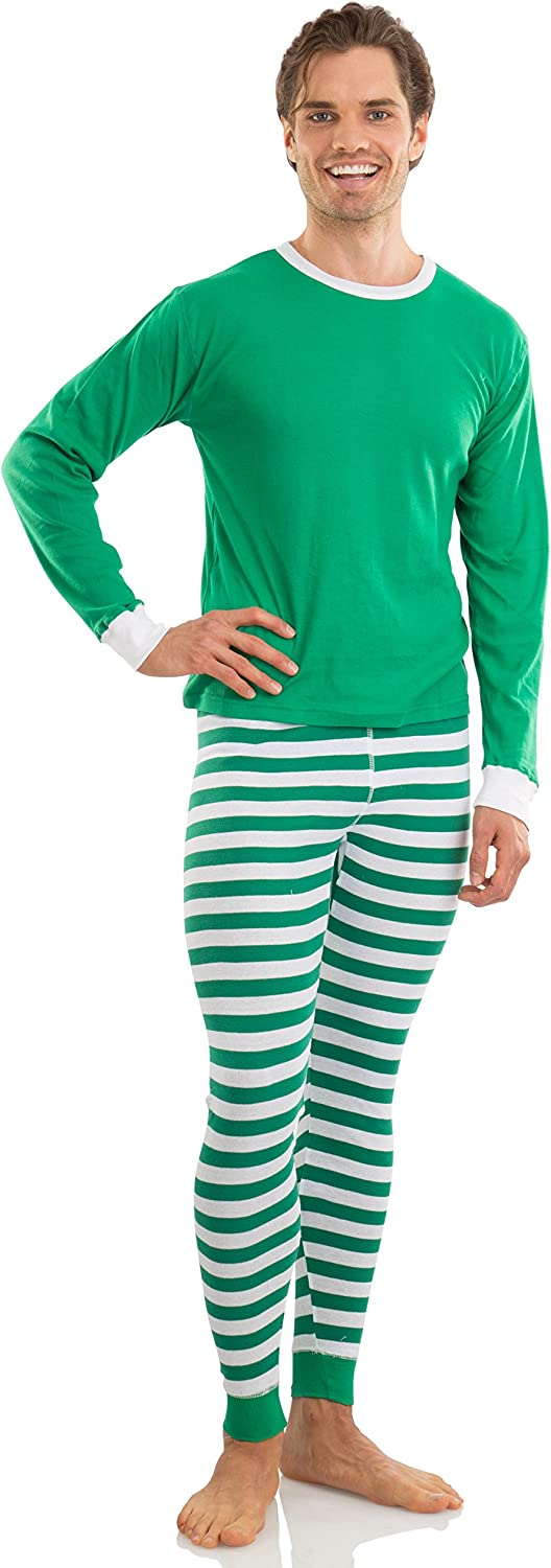 Elowel Adult Womens MensFamily Christmas Fitted Striped Pajamas 100% Cotton