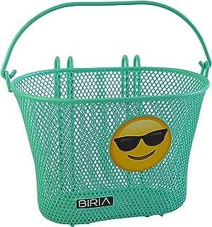 BIRIA Basket with Hooks Emoji, Removable, Wire mesh Small, Kids Bicycle Basket