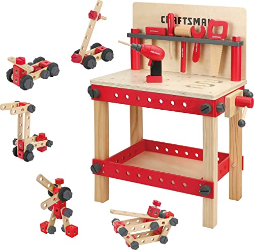2021 Craftsman Wooden Workbench popular Kit Kids online sale Tool Bench, Building Toy Set Creative&Educational Construction Toy, Great Gift for Toddlers 3+ outlet sale