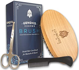Genghis Gear Beard Brush 3 piece kit - Natural Boar Bristles - Men's Grooming Comb for Mustache w/ Scissors - Trains, Conditions, Styles while evenly distributing Oil & Natural Wax Products