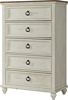 Martin Svensson Home Pine Creek 5 Drawer Antique White and Honey Wash Chest