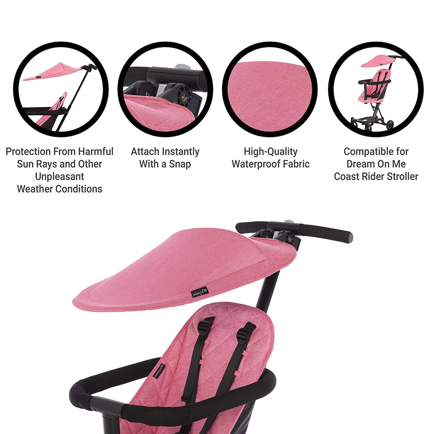 Dream On Me Coast Rider Travel Stroller Lightweight Stroller Compact Portable and Vacation Friendly Stroller, Pink