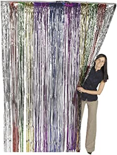 Super Z Outlet 3.2 ft x 9.8 ft Metallic Tinsel Foil Fringe Curtains for Party Photo Backdrop Wedding Decor (Rainbow)