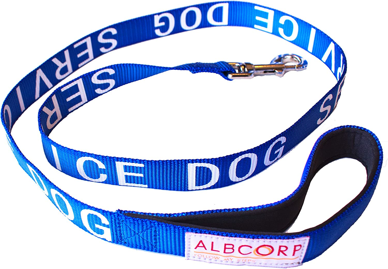 ALBCORP Padded Service Dog Leash  with Neoprene Handle  and Reflective SilkScreen Print, for use on Harnesses,Vests, Collars 4 Foot bluee