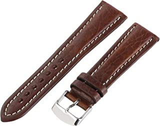 Hadley-Roma Men`s MSM886RA-180 18-mm Black Genuine Shrunken Leather Watch Strap
