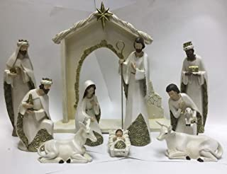 Set of 11 Nativity Figurines with Real Gold Frankincense and Myrrh 10 inch Scale