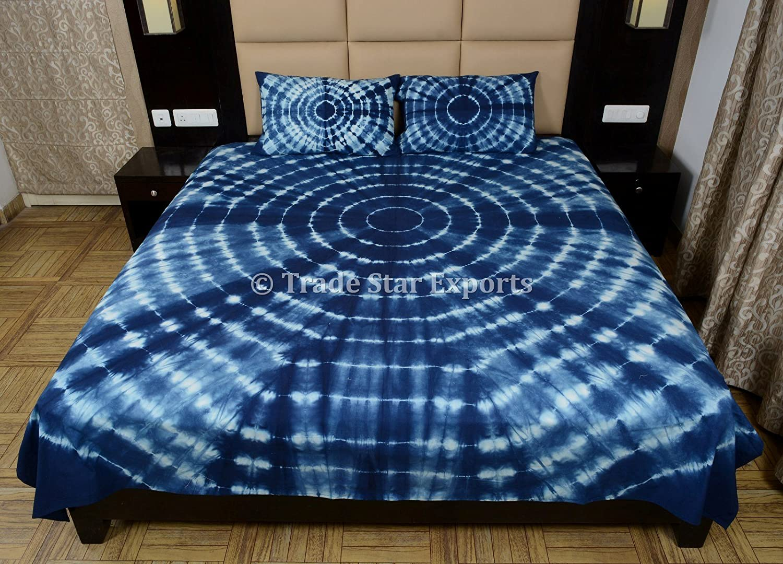 Trade Star Exports Queen Shibori Bedsheet, Tie Dye Indigo Bed Cover with 2 Pillow Cover, Handmade Cotton Bed Sheet Set