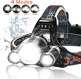 LED Headlamp, 6000 Lumens Max 4 Modes Waterproof Head Flashlight Light Waterproof..