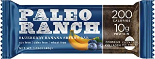 (9 Count) PALEO RANCH Protein Skinny Bar, Blueberry Banana, Cage Free Egg White Protein, Collagen, Gluten Free, Soy Free, 1.62 Ounce