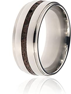 Dinosaur Bone & Titanium Ring Handcrafted with Dinosaur Bone Fossil - USA Comfort Fit Wedding Bands