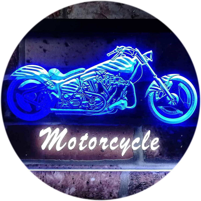 ADVPRO Motorcycles Shop Garage Man Cave Display Dual Farbe LED Barlicht Neonlicht Lichtwerbung Neon Sign Weiß & Blau 400mm x 300mm st6s43-i0642-wb