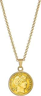 American Coin Treasures Gold-Layered Silver Barber Dime Goldtone Coin Pendant Necklace with 18 Chain