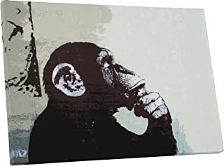 Pingo World 0915PCLUBXM Monkey Thinker Gallery Wrapped Canvas Print 20 X 30. Bonus Free Banksy Wall Decal, 20