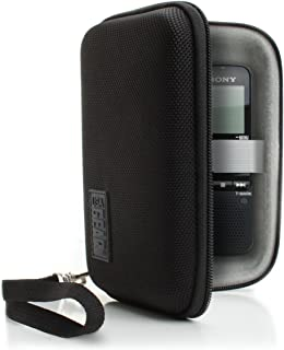 USA Gear Protective Hard Shell Digital Voice Recorder Slim Case - Compatible with Dennov, Sony ICDUX560BLK, YEMENREN R9, DICTOPRO X100, Olympus DP-201, VR-BK8 and More Compact Voice Recorders - Black