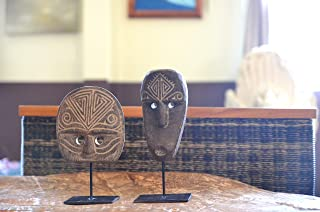 MANJA 木製オブジェ ティモール マスク オブジェ ペアセット 丸顔 22.5cm 面長顔 24.5cm WOO-0488 (丸顔&面長顔セット)