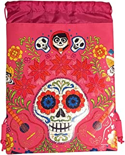 Disney COCO Drawstring Backpack PIXAR Licensed Sling Tote Gym Bag (Pink Skull Bone)
