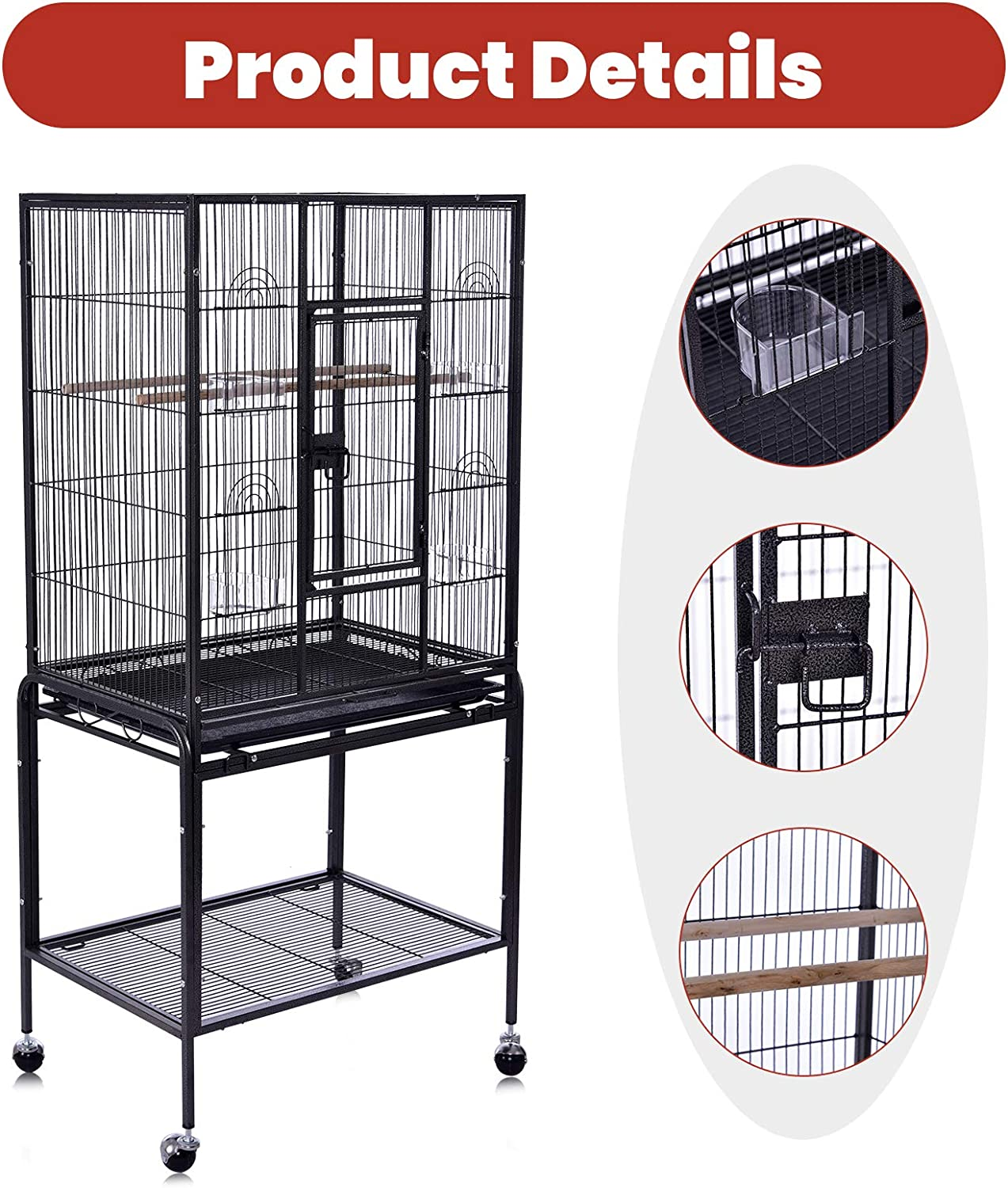 Bellanny Bird Cages with Rolling Stand for Parrots Parakeets Cockatiels Wrought Iron Large Flight Bird Cage for Canary Finch Lovebird Parrotlet Conure Cockatiel 52inch//53inch