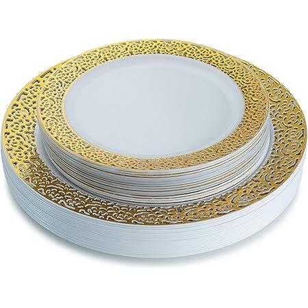 Platos de plástico dorado, colección de encaje Platos de plástico blanco y dorado con ribete de encaje dorado Incluye 20 platos llanos de 10.25 '' y 20 platos de ensalada de 7.25 '' Elegante juego de vajilla desechable - Ajuste elegante